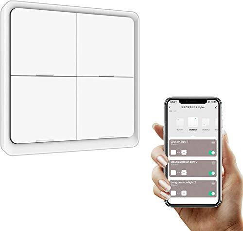 Tuya ZigBee Smart Button Scene Switch, 4 Gang Wireless 12 Scene Wall Switch Push Button Controller Pannello a 4 vie, Richiesto Zigbee Hub, Smart Life App Control