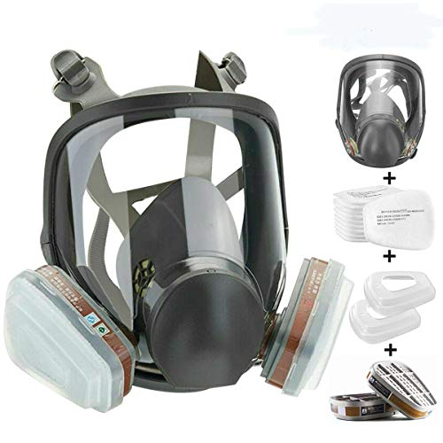 JOEAIS 15in1 Full Face Large Size Respirator,Full Face Wide Field of View,Widely Used in Organic Gas,Paint spary, Chemical,Woodworking(for 6800 Respirator)