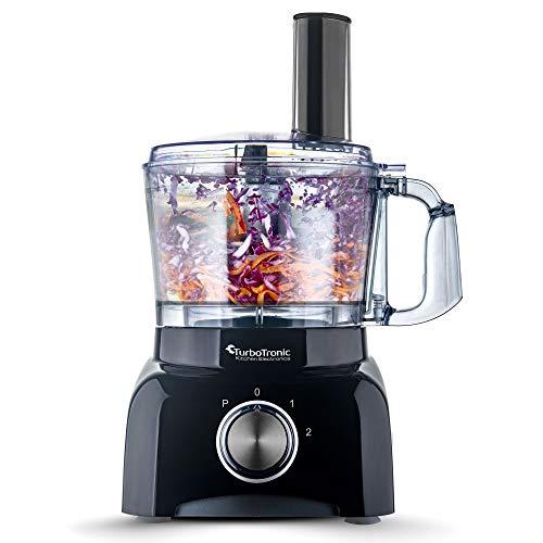 TurboTronic TT-FP800 Food Processor 800 watt keukenmachine 1,2 liter container BPA-vrij versnipperaar, sinaasappelpers (zwart)