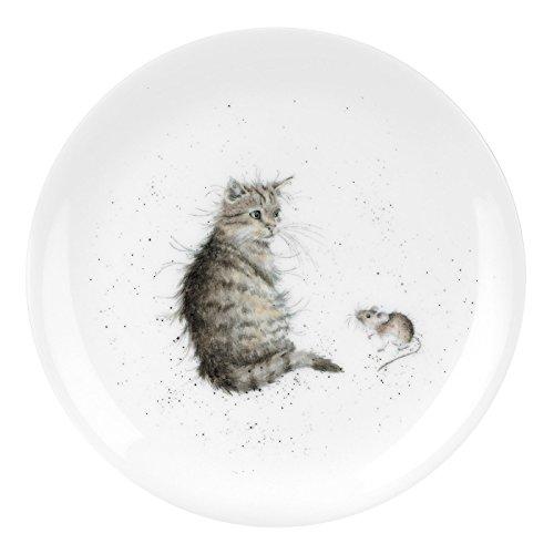 Portmeirion Home & Gifts Wrendale Assiette en porcelaine anglaise Motif chat et souris Multicolore 20,7 x 20,7 x 1 cm