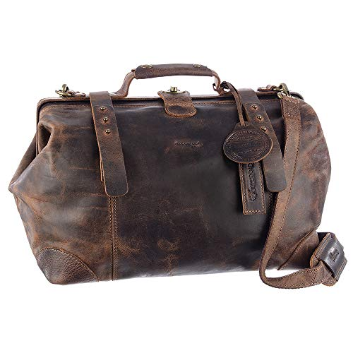 Greenland Nature Classic Doc-Bag XL Arztkoffer Doktorkoffer Arzttasche Doktortasche Hebammentasche Doc Case Koffer aus feinstem Leder braun - Geschenkset Greenland-2509