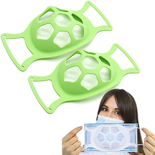 3D Face Bracket, Silicone Face Inner Support Frame for Comfortable, Face Guard Breathing Bracket Washable Reusable, Breathe Cup Nose Breathing Smoothly (GREEN)