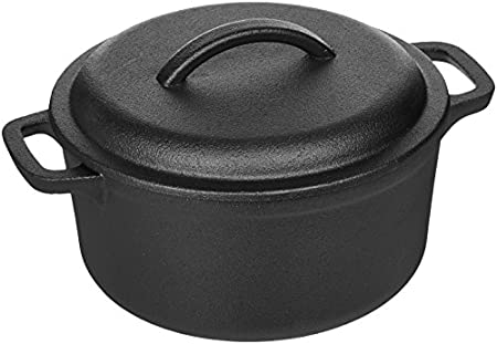 AmazonBasics Pre-Seasoned Cast Iron Dutch Oven with Dual Handles - 2-Quart image