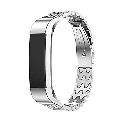SUNEVEN Cinturino di ricambio per Fitbit Alta/Alta HR, cinturino regolabile in metallo in acciaio inox, cinturino sportivo per Fitbit Alta/Alta HR Fitness (argento)