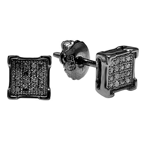 0.10 Carat (ctw) Round Black Diamond V-Prong Mens Stud Earrings 1/10 CT, Black Rhodium Plated 14K White Gold