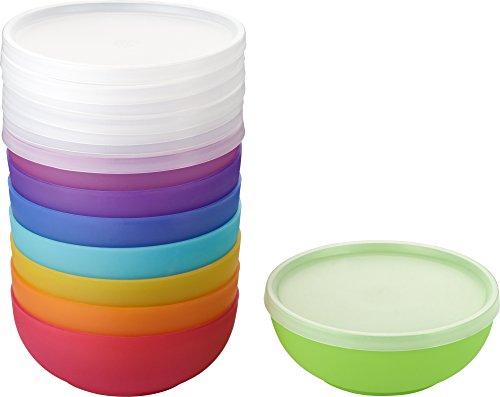 Kigima Dessert Salat Dip Schüsseln mit Deckel 8er Set Rainbow Bunt 14 cm Durchmesser