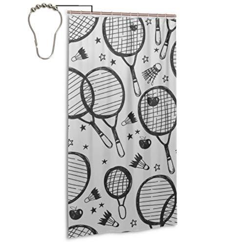 Cortina de ducha decorativa de raqueta de bádminton y raqueta de tenis con 12 ganchos Cortina de baño Lavable a máquina Cortinas de ducha de baño impermeables para el hogar Spa Hotel Baño 36x72 pulga