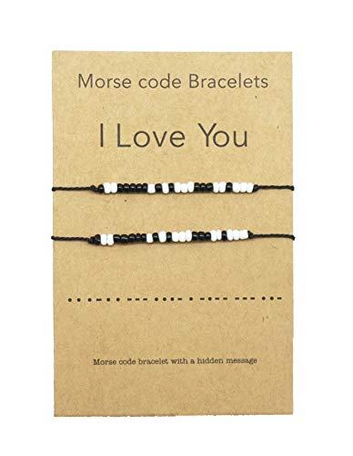 Zling I Love You Morse Code - Pulsera para parejas con texto en inglés «I Love You Morse» (2 unidades)