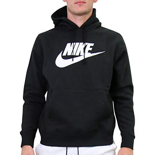 Nike Sportswear Club Fleece, Felpa Pullover con Cappuccio e Grafica Uomo, Black/Black/White, S