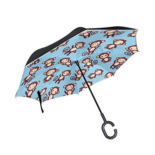 Rode De aap bruin grappige paraplu, lijm met greep in C-vorm, winddicht, voor regen, buiten, dubbel, omgekeerd