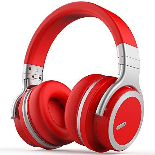 OIUYT Headset Bluetooth actieve noise cancelling hoofdtelefoons muziek draadloze telefoon subwoofer headset for pc (Color : Red)