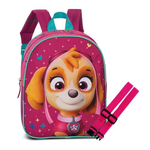 Juego de mochila infantil de la Patrulla Canina, Marshall Chase Skye+ correa pectoral, color azul y rosa