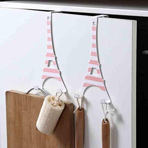 Handig 2PCS Rack Holder Hoed Kleding Coat Towel zak over hek badkamer 2 haken hanger hanging Rack Holder