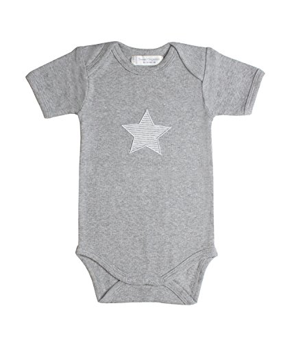 Sense Organics Yvon Baby Kurzarm, Body Bébé Garçon, Gris (Grey Melange + Star Applique 900024), 86 cm (Taille du Fabricant: 12M)