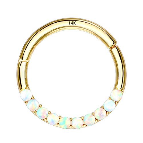OUFER 14K Gold Hinged Segment Hoop Rings Opal Lined Set Septum Clicker Nose Rings Daith Trgaus Helix Earring Body Piercing Gold