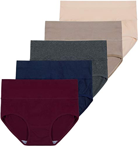 INNERSY Slip Damen Baumwolle Atmungsaktiv Bauchstütze Bikini Unterhosen 5er Pack (38, Frühherbst)