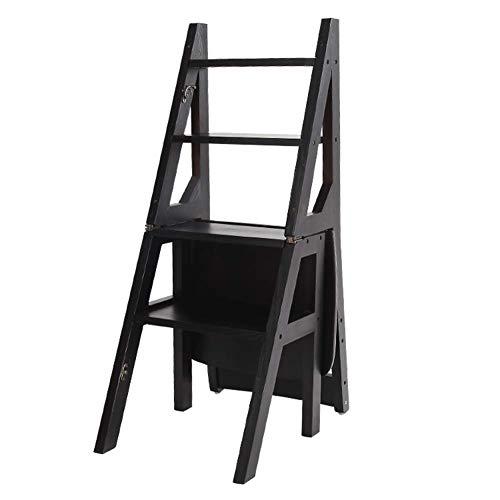 NEVY-merk Folding Ladder Krukken, Trappen Rugleuning Stoel Effen Hout Dual Use Bloemenstandaard Boekenplank, 4 Stappen, 4 Kleuren