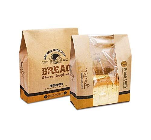 Hoocozi 30pcs Food Kraft Bags with Label Seal Stickers Kraft Paper Packaging Kraft Paper Bread Bags Cookies Biscuit Snack Storage Bags Toast Bread Bags