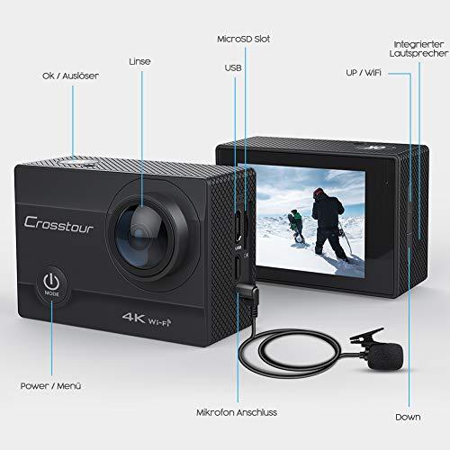 Crosstour Action Cam 4K 16MP WiFi Sports Kamera Helmkamera Unterwasserkamera mit externem Mikrofon Anti-Shaking Zeitrafferaufnamhme Weitwinkelobjektiv mit 2 Akkus und kostenlose Accessoires - 3