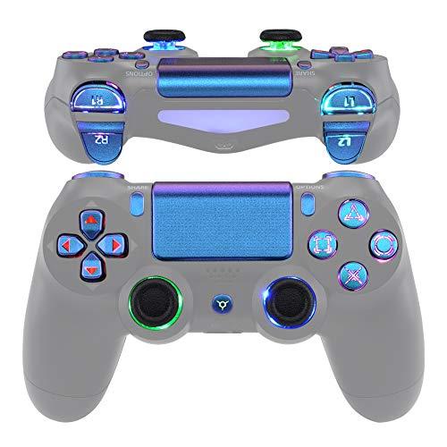 eXtremeRate Tasten für PS4 Knöpfe D-Pad Trigger Thumbsticks DTFS LED Kit für Playstation 4 Controller CUH-ZCT2[Kein Controller](Klassische Symbole Leuchttaste-Lila Blau)-DTF 2.0