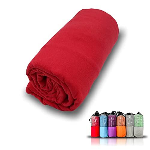 Toalla de Microfibra Secado Super Rápido, Toalla para Deporte Gimnasio, De Viaje y a la Playa, Absorbente y Ultraligera (Rojo, 80 x 150 cm)