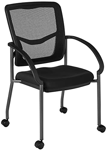 Office Star Breathable ProGrid Back and Padded Coal FreeFlex Seat, Contour Arms, Titanium Finish Stacking Visitors Chair with Casters, Black