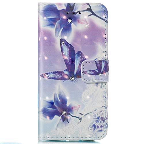 Surakey Coque Etui pour ZTE ZMax Pro (Z981) Motif Brillant Paillette Glitter Etui Housse Cuir PU Portefeuille Folio Flip Case Cover Wallet Coque Housse pour ZTE ZMax Pro (Z981),Violet Papillon Fleur