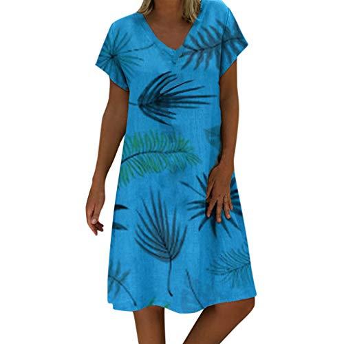 LEXUPE Damen Sommer Stil V-Ausschnitt Gedruckt Casual Plus Size Damenkleid(Blau,Small)
