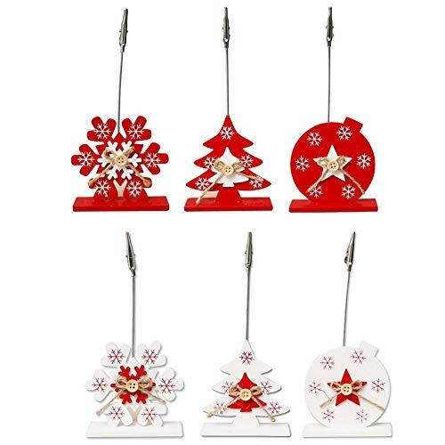 Jannyshop 6 Piezas Titular de la Tarjeta de Navidad de Madera Carpeta de Fotos para Decoración de Navidad