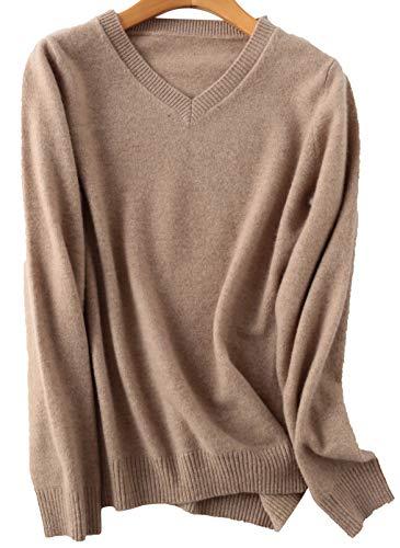 PHELEAD Damen 100% Merinowolle Winterpullover v Ausschnitt Pullover Damen Langarm Slim warm Strick Sweater (M, Tan)