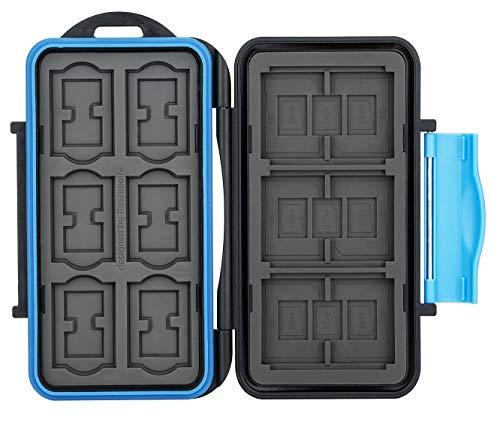 flashwoife Turtle-SD12CF3MSD21 Tarjeta de Memoria Impermeable Caja Protectora para 3 x CF Compact Flash Card, 12 x SDHC y 21 x MicroSD, grabación patentada, Estuche para Tarjetas en Negro/Azul