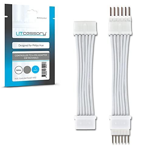 Litcessory Controller a 6-Pin Adattatore per Philips Hue Lightstrip Plus (Versione Rimovibile, Bianco - MICRO 6-PIN V4)