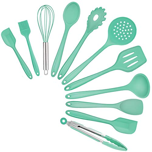 TeamFar Silicone Kitchen Cooking Utensils, 11 PCS Green Cooking Utensils Spatula Set Heat Resistant For Nonstick Cookware, Perfect for Cooking Baking Mixing, Healthy & Non Scratch, Dishwasher Safe