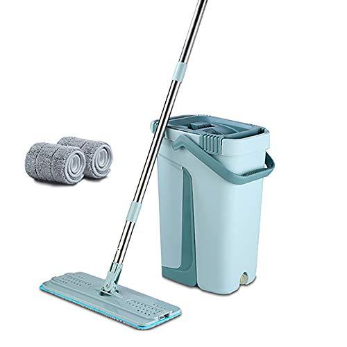 2 in 1 Wet & Dry Floor Mop Eimer Hand Free Wash Flat Squeeze Lazy Mop Home Kitchen Floor Cleaning Mops Magic Automatic Schleudermop Vermeiden Sie Handwäsche Ultrafine Faser Reinigung Blue- 2 Cloth