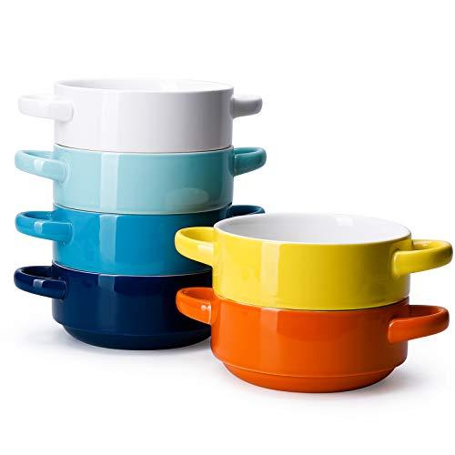 Porcelain Bowls with Handles- Set of 6