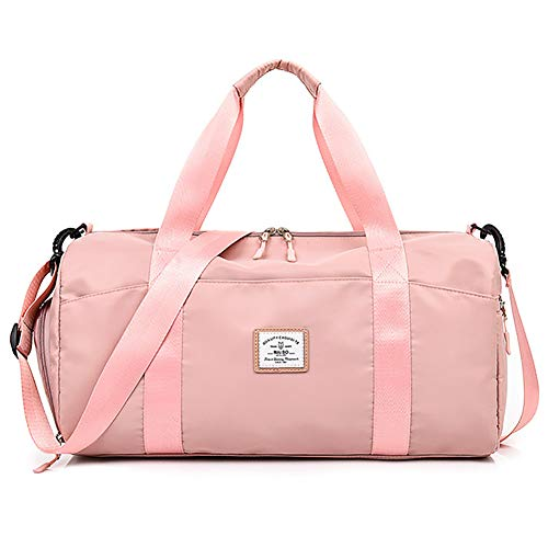 ZHYLOVE Duffle Travel Bag with Waterproof Wet Pocket And Shoes Compartment Dry Wet Separated Gym Sports Bag,Pink