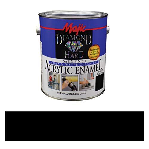 Majic Paints Diamond Hard Acrylic Enamel Satin Paint, 128 oz / 1-Gallon, Satin Black