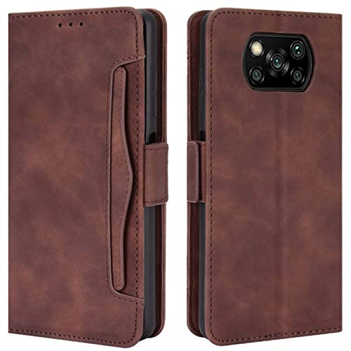 HualuBro Handyhülle für Xiaomi Poco X3 NFC Hülle, Poco X3 Pro Hülle Leder, Flip Hülle Cover Stoßfest Klapphülle Handytasche LederHülle Schutzhülle für Xiaomi Poco X3 NFC Tasche (Braun)