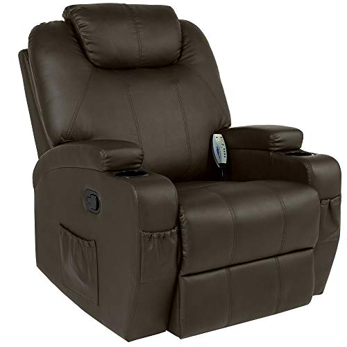 Best Massage Executive Recliner Gaming Chair Swivel with Remote Control 5 Modes 2 Cup Holders Brown - Skroutz Deals