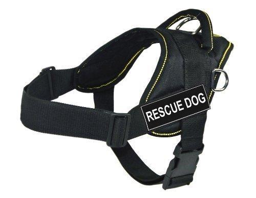 Dean & Tyler D&T Fun Rescue Dog YT-S DT Fun Works Hundegeschirr, Rettungshund, Größe S, 56 cm bis 69 cm, Schwarz mit gelbem Rand