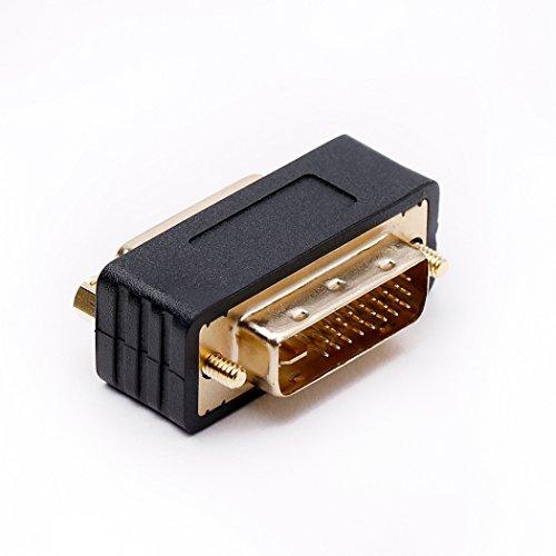 DVI-D Stecker zu DVI-I Buchse Adapter, DVI Adapter mit Doppelkupplung Monitoradapter Kompakte Bauweise Vergoldete Kontakte
