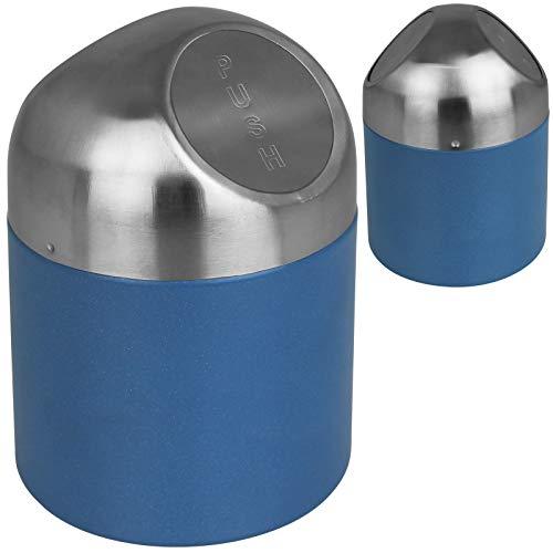 Tischabfalleimer 1L mit Farbwahl Kosmetikeimer klein Tischmülleimer Tisch Mülleimer Abfalleimer (Blau)