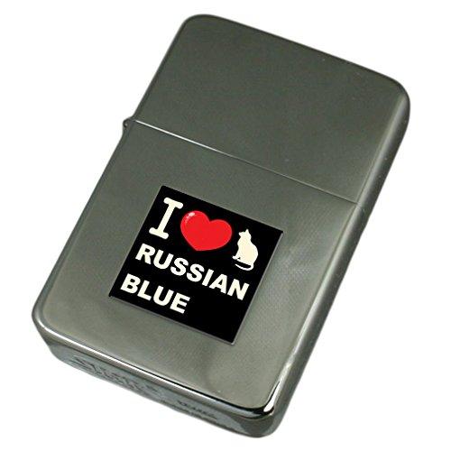 Ich liebe meine Katze Gravur Feuerzeug Russisch Blau
