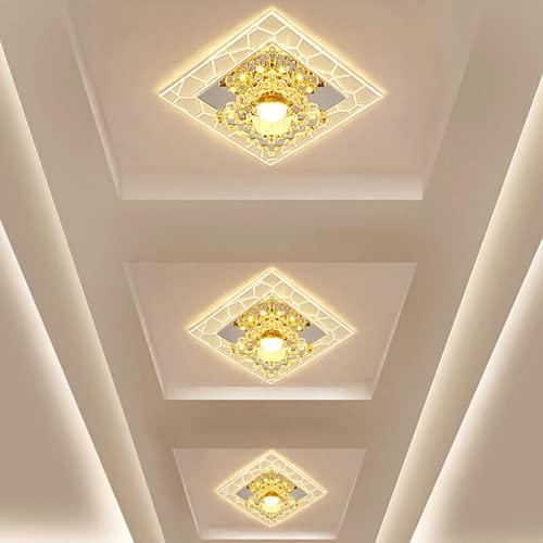 Zi Yang LED Creativo balcón Corredor Engranaje vestíbulo Sala Lámpara de Techo 3W Cristal Luces de Techo Moderno Minimalismo Pantalla de acrílico Cuarto Iluminación de Techo Luz cálida 3000K D18CM