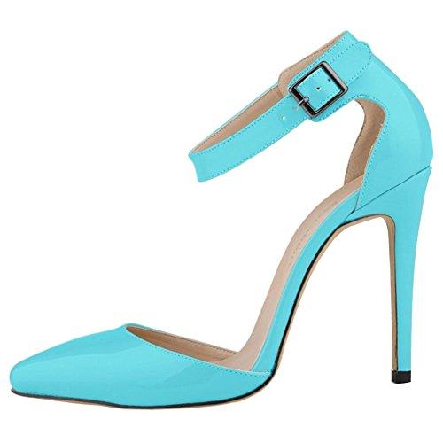 Minetom Spitze Damen Pumps Stiletto High Heels Lack Leder-Optik Schuhe Metallic Party Abendschuhe Hochzeit Abiball Jennika Hellblau EU 38