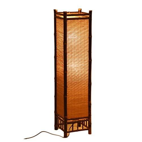 BXZ Iluminación para el hogar Lámpara de pie de bambú artesanal Vintage Estilo japonés Lámparas de bambú Lámpara de pie de noche Bombilla E27 moderna Dormitorio en casa,60cm