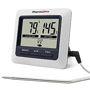 ThermoPro TP04 Termómetro Digital de Cocina para Alimentos Carne Barbacoa Horno Parrilla Comida con Modo Temporizador y…