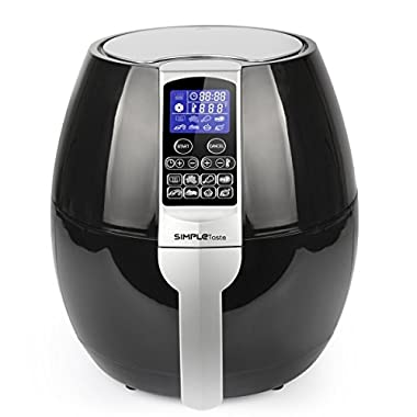 SimpleTaste Multi-function Electric Air Fryer with Rapid Air Circulation Technology, Smart Programs with Automatic and Manual Timer & Temperature Controls, 1400-Watt 3.2 QT
