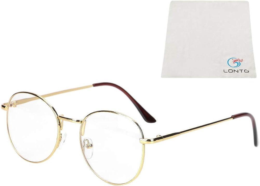 FEISEDY Klassische Round Rahmen Ohne Sehst/ärke Brillengestelle Nerdbrille clear Linsen Metalltempel Fake Brille f/ür Damen Herren B2260