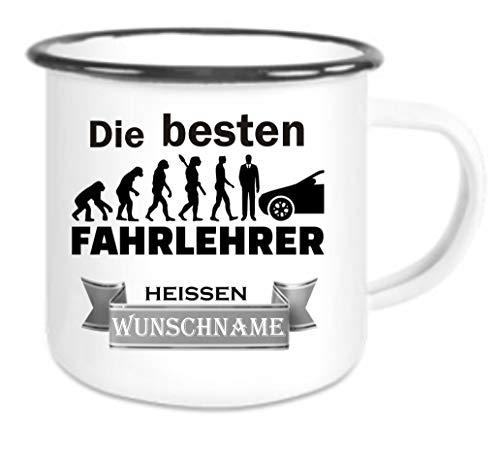 Crealuxe Emailletasse m. Wunschname Die besten Fahrlehrer heißen (Wunschname) - Kaffeetasse mit Motiv, Bedruckte Tasse mit Sprüchen oder Bildern